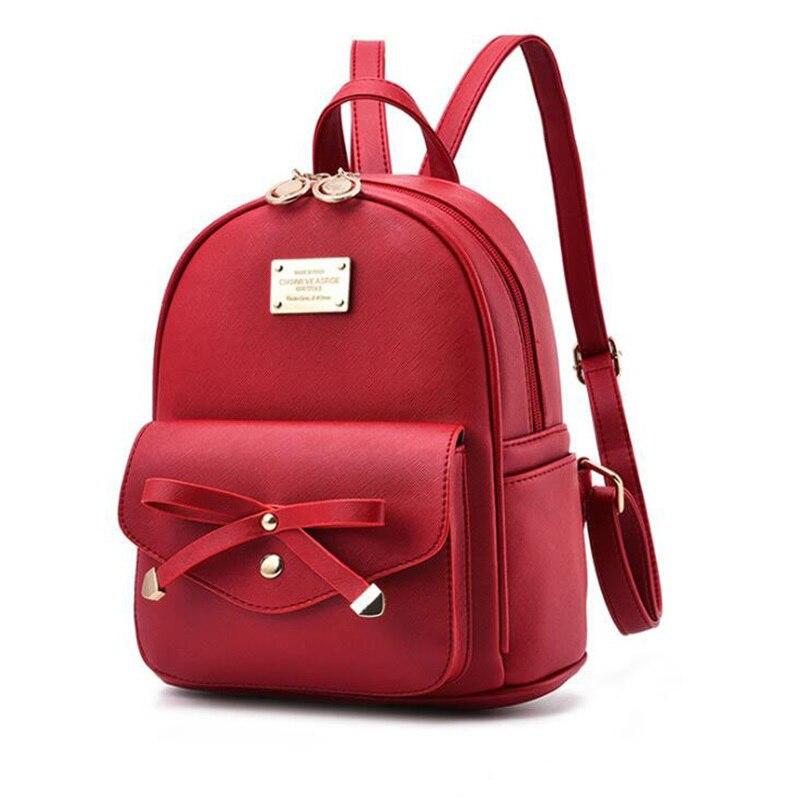 Image 3 - FGJLLOGJGSO Fashion Women Bag School Lady Backpack PU Leather small Student Shoulder Casual Female Backpacks Softback Bags SacBackpacks   -