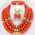 African Coral Beads Jewelry Sets Nigerian Wedding African Beads Jewelry Sets Free Shipping     HD0808