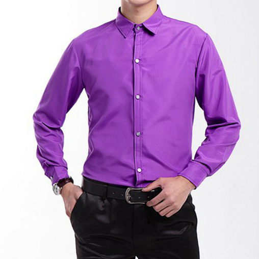 Men's Clothes Simple Performance White Turn-down Collar Men Shirt Long Sleeve Shirts Dress Casual Chorus Person Clothing Pink