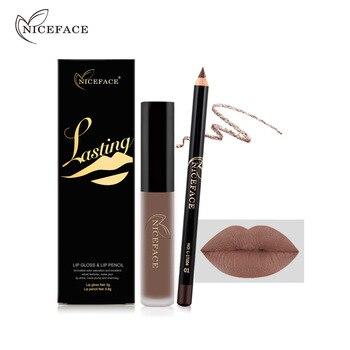 NICEFACE Lipstick Sets Long Lasting Matte Liquid Lipstick+Velvet Lips Pencil Makeup Waterproof Matt Batom Nude Liquid Lip Gloss 1