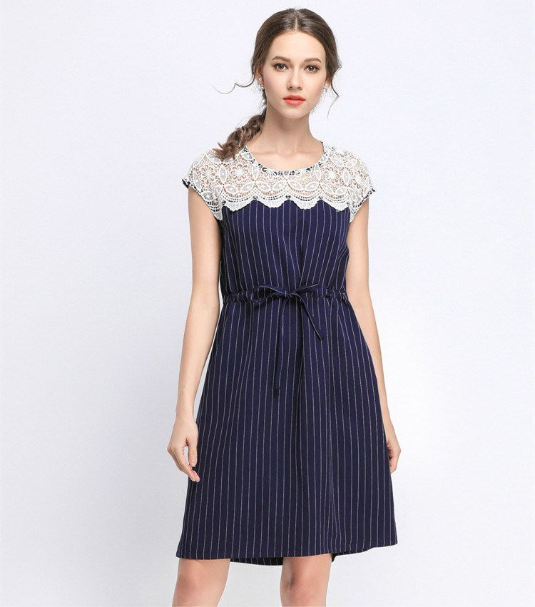 New 2018 Summer Women Stripe Party Dress Elegant Sleeveless Empire Lace Up Dresse Sexy O Neck Lace Patchwork A-Line Dresss