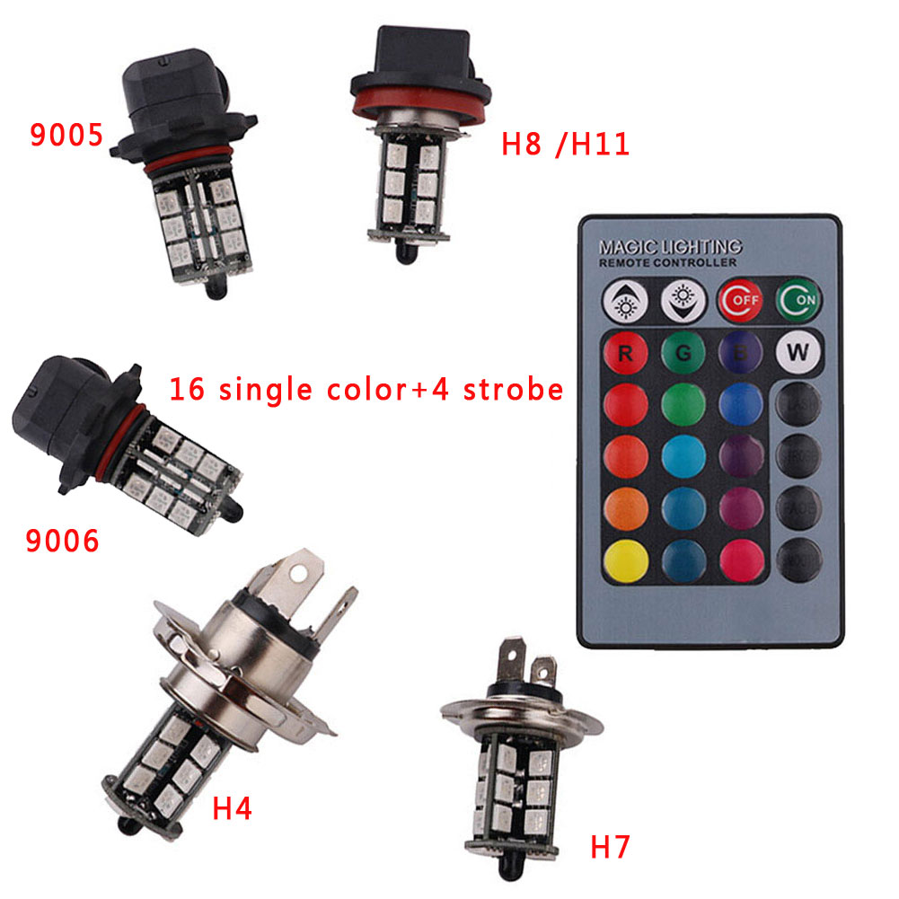 RGB Wireless H11 27Led SMD 5050 LED Bulbs For Fog Light Headlight Bulb Daytime Running DRL Lights Set Kit Control Car Styling forex b016 h 5050