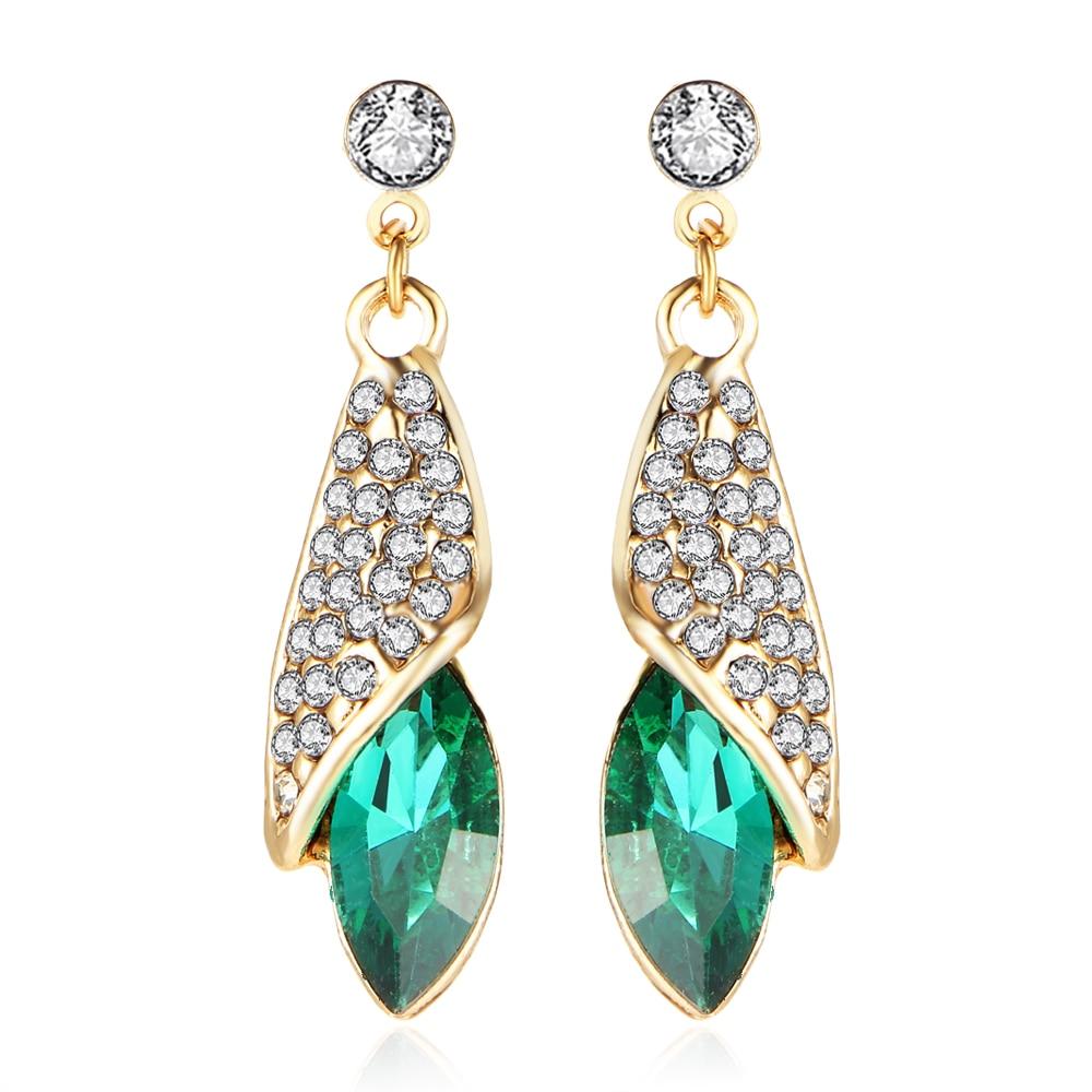 2015 Luxury Brand Jewelry Fashion Statement Crystal Earrings 4 Colors Rhinestone Water Drop