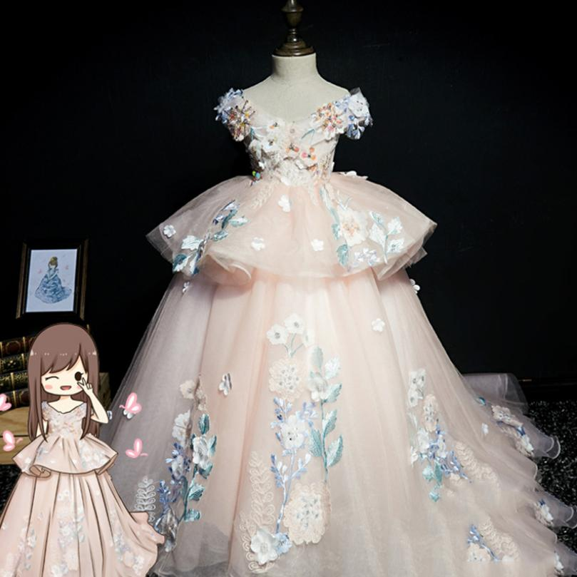 100% top quality a few days away good Chilldren Ball Gown First Holy Communion Dress Kids Pageant ...