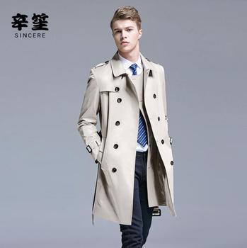 Mens trench coats man spring autumn business coat men clothes slim fit overcoat long sleeve 2020 new designer khaki gold beige