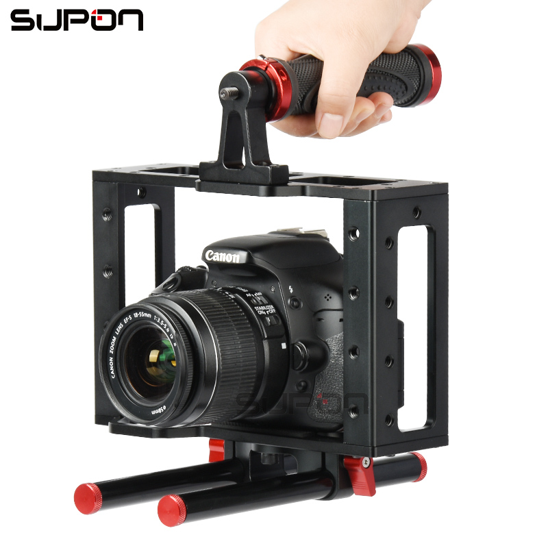 Supon Multi-function Camera Video DV Cage FOR Film Making Movie Video+Handle Grip+Rod for Canon5D/700D/650D Nikon D7200 DSLR yelangu aluminum alloy camera video cage kit film system with video cage top handle grip matte box follow focus for dslr