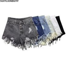 315bca02c1 Más el tamaño de las mujeres de algodón de verano Pantalones cortos de Denim  roto agujero pantalones cortos botón amplia pierna .