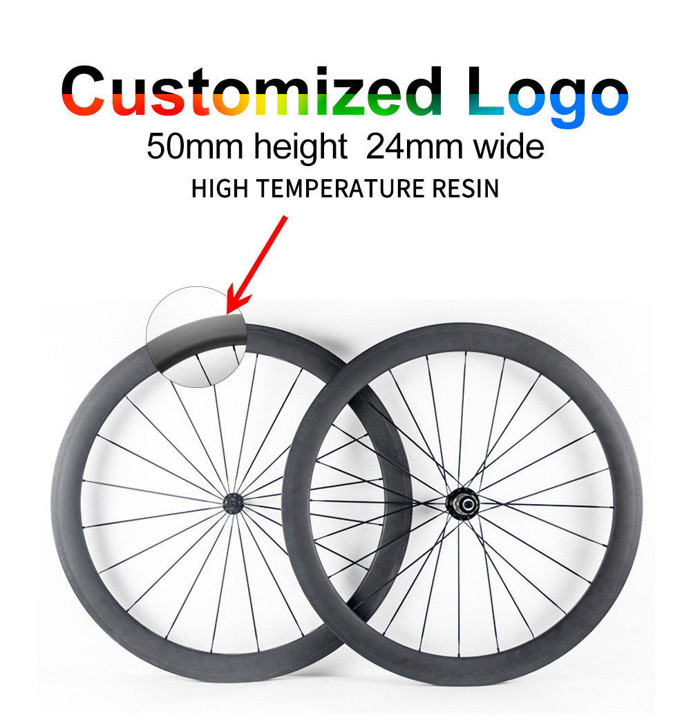 700C UD carbon road wheel 24mm width 50mm depth Clincher carbon bicycle wheels Wheelset can be customized logo цена