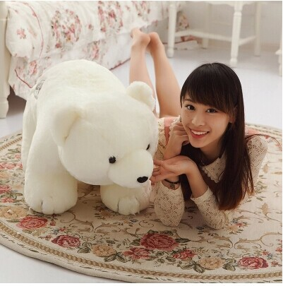 80 cm white polar bear plush toy about 31 inch lovely doll throw pillow gift w5485 big cute simulation polar bear toy handicraft lovely white polar bear doll gift about 31x18cm