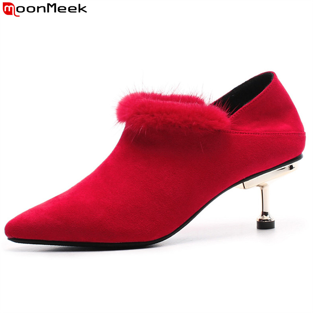 MoonMeek black red fashion women pumps pointed toe flock autumn winter ladies shoes elegant fur high heels shoes leisure memunia flock pointed toe ladies summer high heels shoes fashion buckle color mixing women pumps elegant lady prom shoes