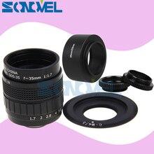 Фуцзянь 35 мм F1.7 видеонаблюдения фильм объектив + C крепление + Macro Ring + капюшон для Olympus Micro 4/3 M4 /3 EP5 EPL1 EPL2 EPL3 EPL5 EPM1 OM-D E-M5 E-M10