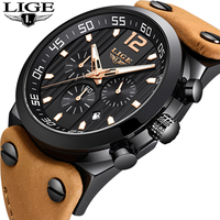 LIGE Men Watches Male Waterproof Military Watch Men Top Brand Luxury Chronograph Leather Sport Quartz WristWatch relojes hombre