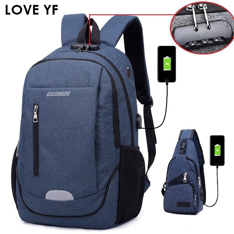 Homens Mochila de Carga USB Anti Theft Bloqueio Sacos Masculino bolsa de Laptop Saco de Escola Mochilas de Viagem Com Plug de Fone de ouvido saco um dos fille 2018
