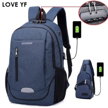 USB Charge Backpack Men Anti Theft Lock Laptop Bag School Bags Male Travel Backpacks With Headphone Plug sac a dos fille 2018 gray men s backpack with usb interface black laptop backpack zipper classic male blue travel school bag anti theft backpacks