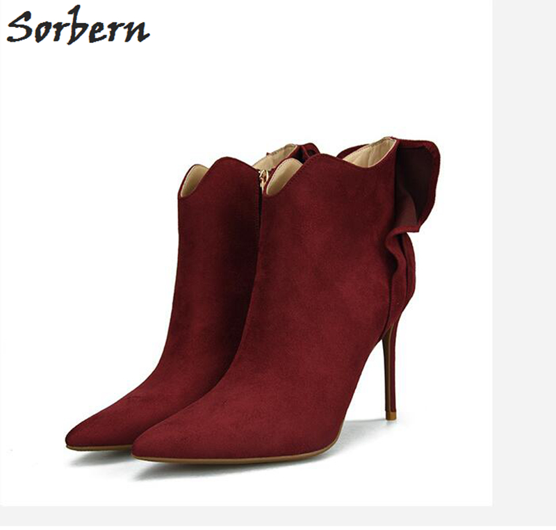 Sorbern Fashion Women Boots Botas Mujer Flower Solid 10CM 8CM Heels Pointed Toe Plus Size Flock Ladies Party Boots Hot Sale fashion sorbern women boots high thin metal heels pointed toe zipper ladies party boots boots women zapatos mujer hot sale