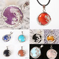 New 22X7MM Amethyst Opal Rose Quartz Lapis Lazuli Turquoise Onyx Carnelian Oblate Bead Inlaid Alloy Dragon Pendant 1PCS