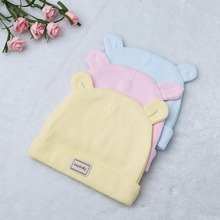 New Cute Autumn Winter Baby Pure Color Hat Cartoon Animal Ear Kids Cotton Fit For 0-3 Month