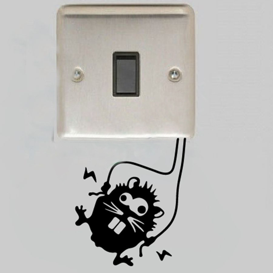 funny mouse decal sticker for wall switches Warning sign, High voltage hamster for electrical sockets decor