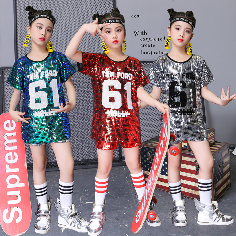 Jazz Dance Costumes Sequined Short Sleeved Shirt Dress Girls Hip Hop Clothing Child Cheerleader Outfit Kids Dancewear DN2951
