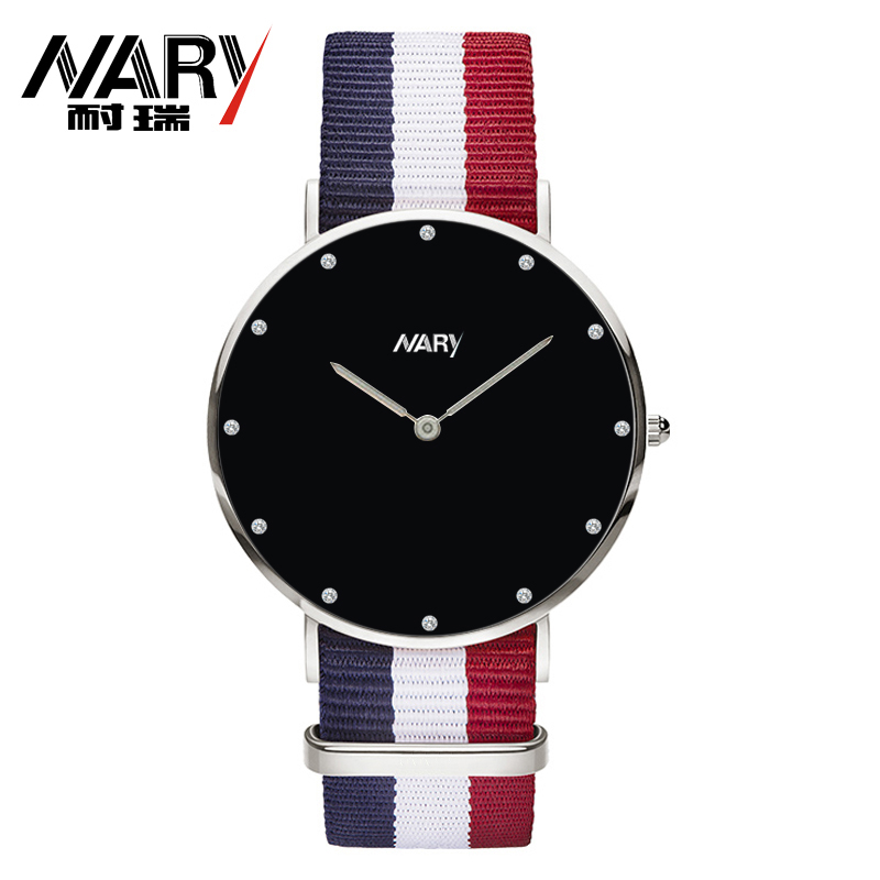 NARY Brand 2016 New Fashion Sport Watch Women Popular Elegant Color Nylon Leather Strap Roman Number Dial Casual Quartz Watch