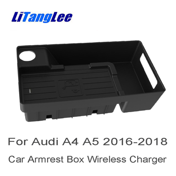 LiTangLee Wireless Charger for Audi A4 B9 8W 2016 2017 2018 2019 Car Quick Charge Fast Mobile Phone Wifi Charger Storage