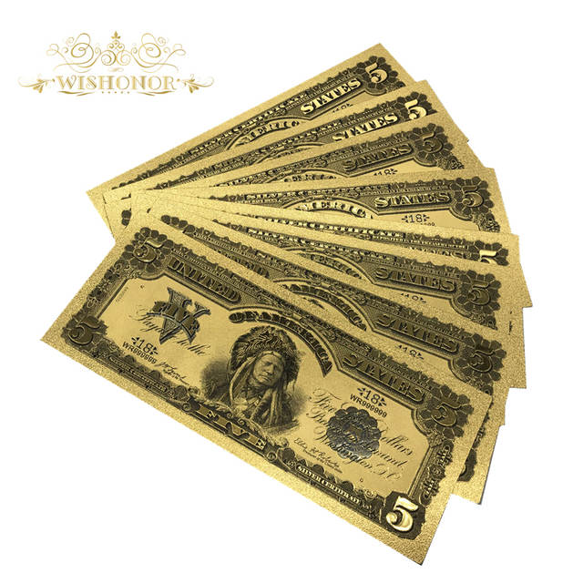 10pcs/Lot Colored The United States Banknote 1899 USD 5 Dollars Gold Foil  Banknote Valued Collection Souvenir with Free Shipping