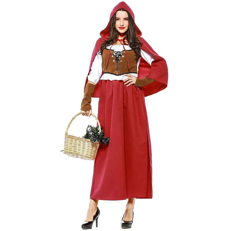 High Quality Adult Female Little Red Riding Hood Costume Sexy Women Halloween Carnival -1980