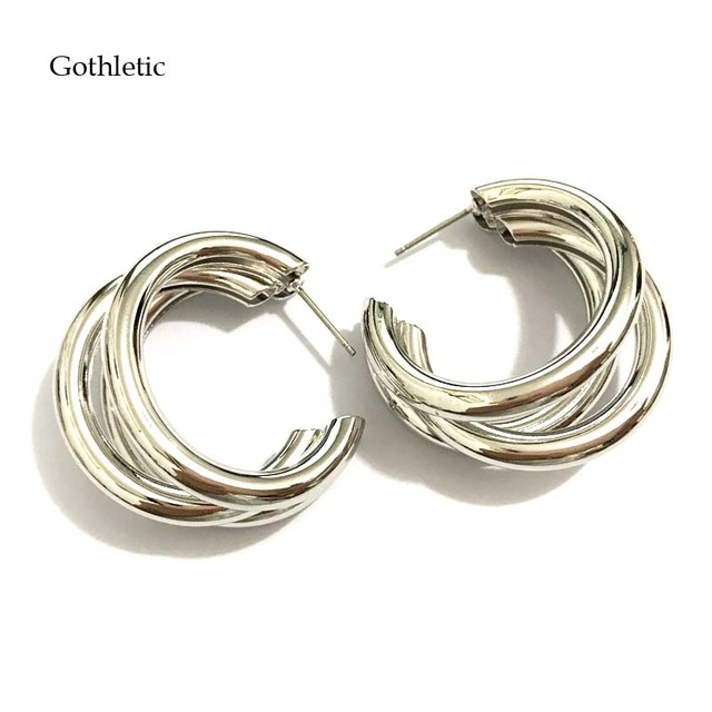 Gothletic Statement Wide Hoop Earrings Gold Rhodium Color 3 Layered Copper S 30mm Small Round