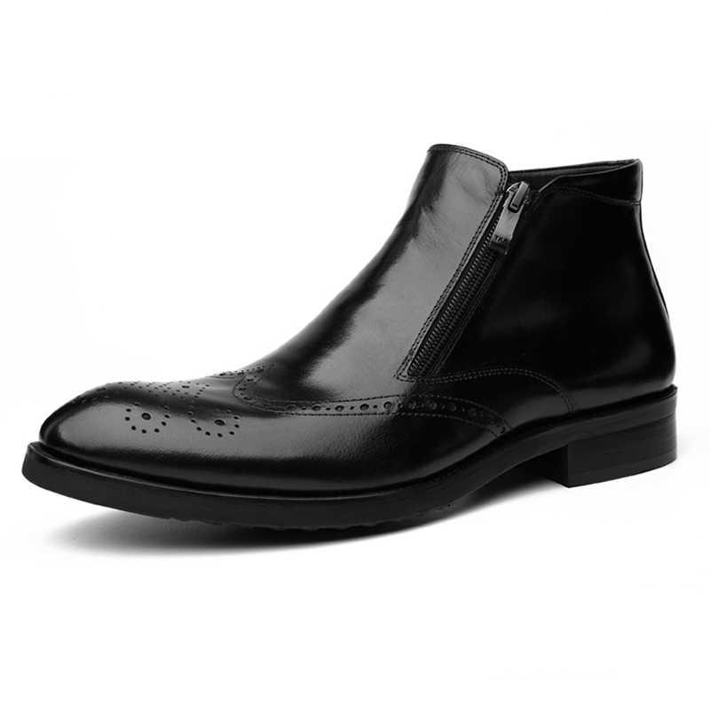 Hot 2019 Europa Amerikaanse mannen Dubbele Ritsen Gesneden Echt Lederen Schoenen Heren Wees Teen Bedrijvengids Jurk Schoenen Bullock laarzen