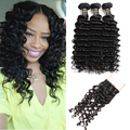 7a malaysian deep curl hair with lace closure deep wave with closure human hair 3 bundles malaysian virgin hair with closure