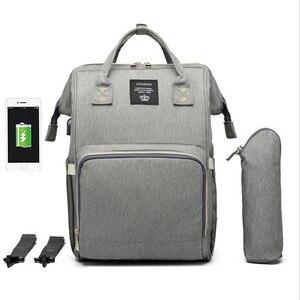 Image 5 - LEQUEEN USB сумка для подгузников, для ухода за ребенком, Большой Вместительный рюкзак для мамы, для мам, влажная сумка, водонепроницаемая сумка для беременных