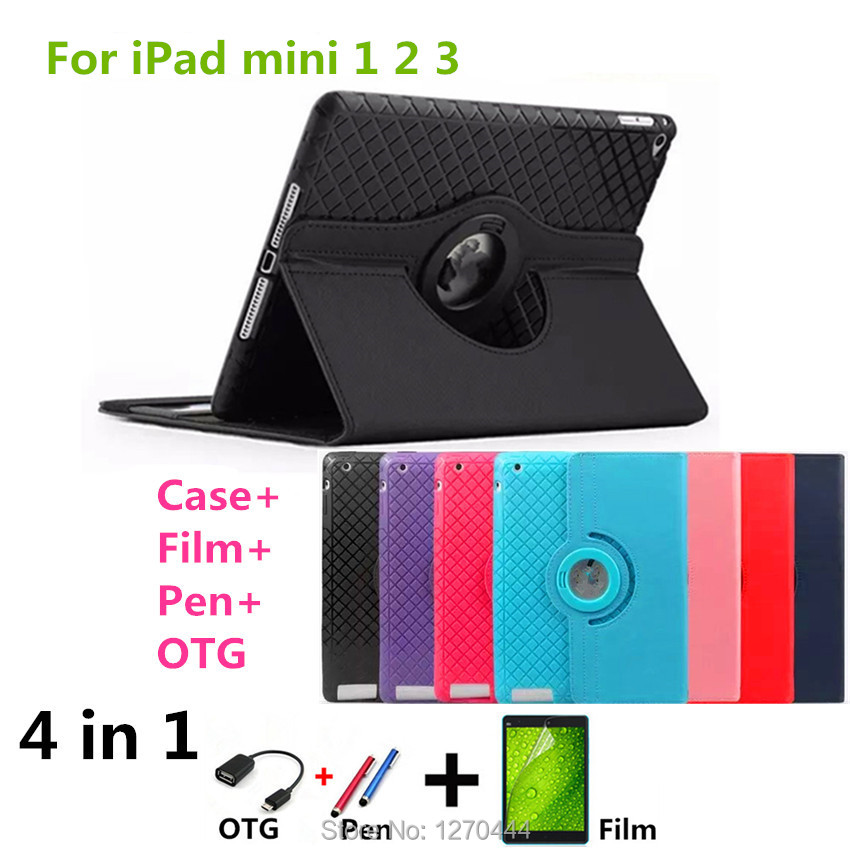 Luxury Magnetic Color Painted PU Leather cover For Apple iPad mini2 mini3 Stand smart protective Case For IPAD case mini 1 2 3