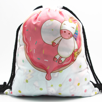 30PCS / LOT Drawstring Bags 3D Printed Cute Animal Donuts Pattern Women Schoolbags Travel Bags Portable Beach Pouch
