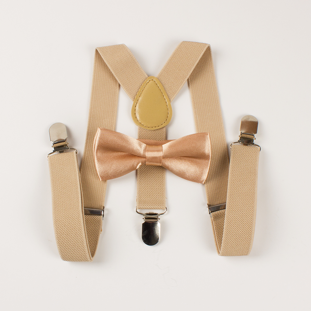 Mantieqingway Children Solid Suspenders Bowtie Set Y Shape 3 Clip-on Elastic Suspender for Boys Belts Straps Grils Braces Ties