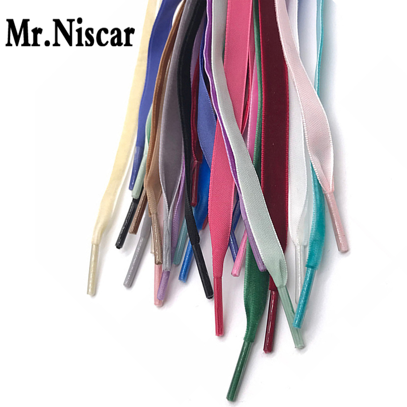 1 Pair Flat Colored Shoe Laces for Canvas Shoes Strings Rope Personality Polyester Shoelaces Velvet Surface W 1 CM 15 Colors fggs shoelaces light for shoes 60 cm white
