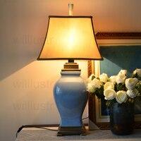 Colorful Glazed Ceramic Table Lamp Study Bedside Living Room Lamp Ice Cracked Porcelain Jar Copper Base