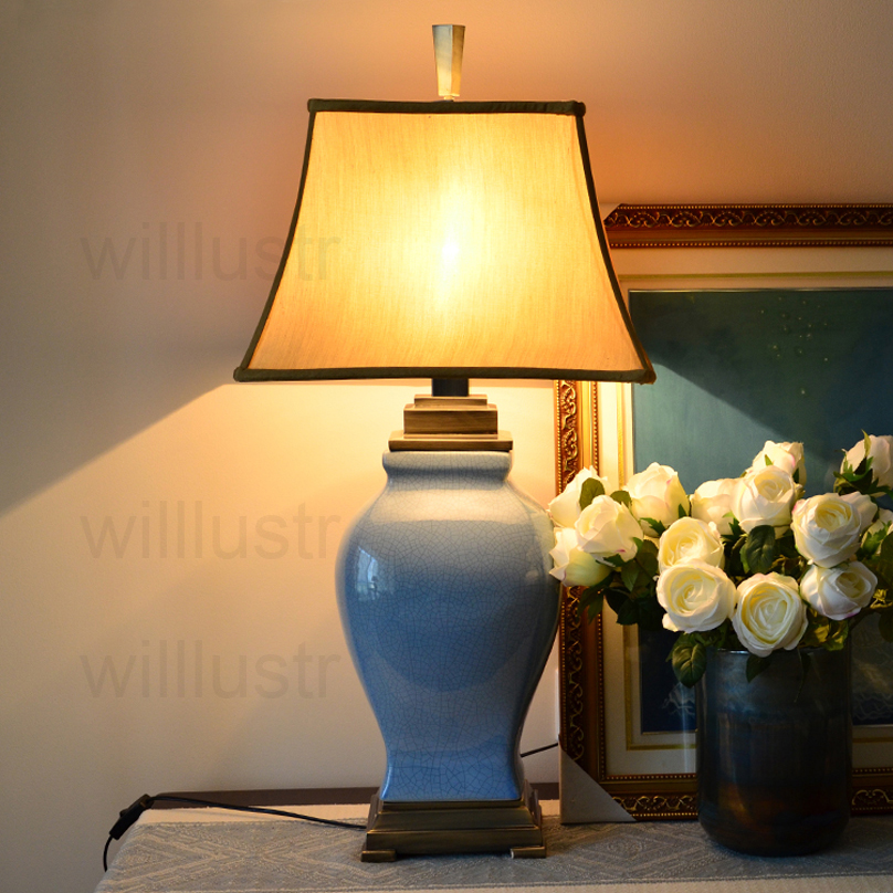colorful glazed ceramic table lamp study bedside living room lamp Ice cracked porcelain jar copper base fabric shade table light