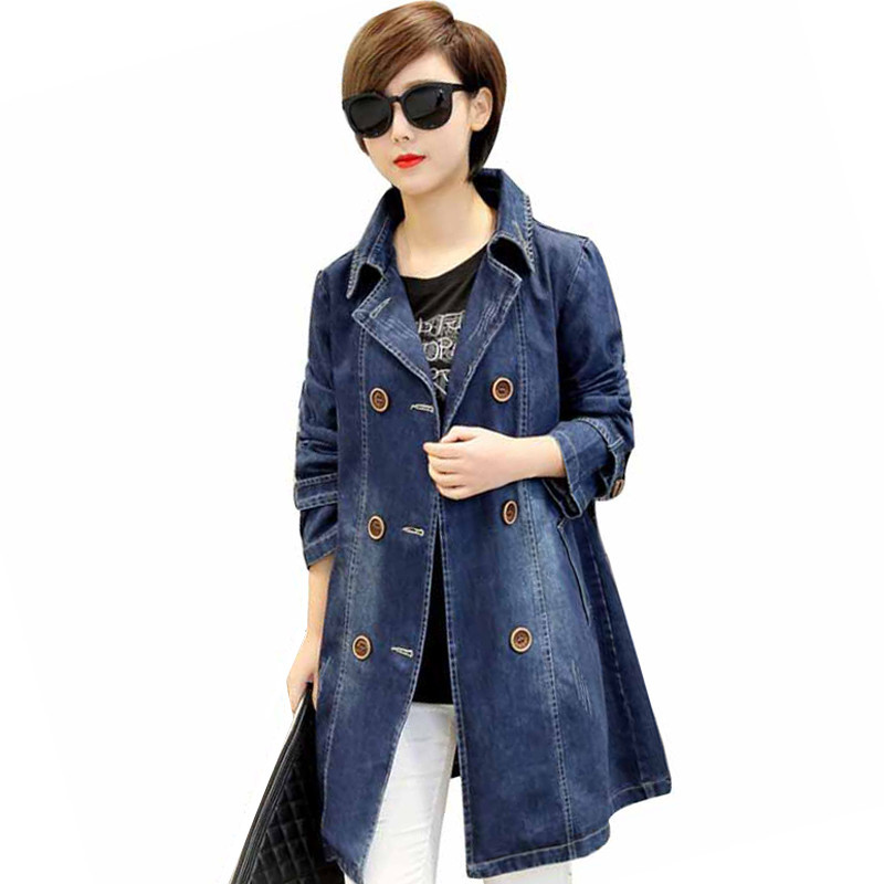 IOQRCJV 2019 Spring Womens Denim Coat Loose Female Mid-length   Trench   Coat Casual Female Denim Windbreaker Top Plus Size 5XL L258