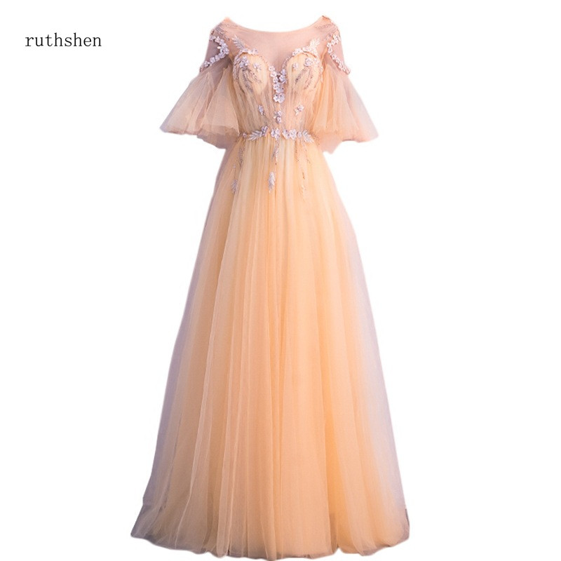 ruthshen Illusion Sexy Prom Dress Long Gold Pink Navy Blue Grey Color Half Sleeves A-line Appliques Beading Prom Gowns 2018 New
