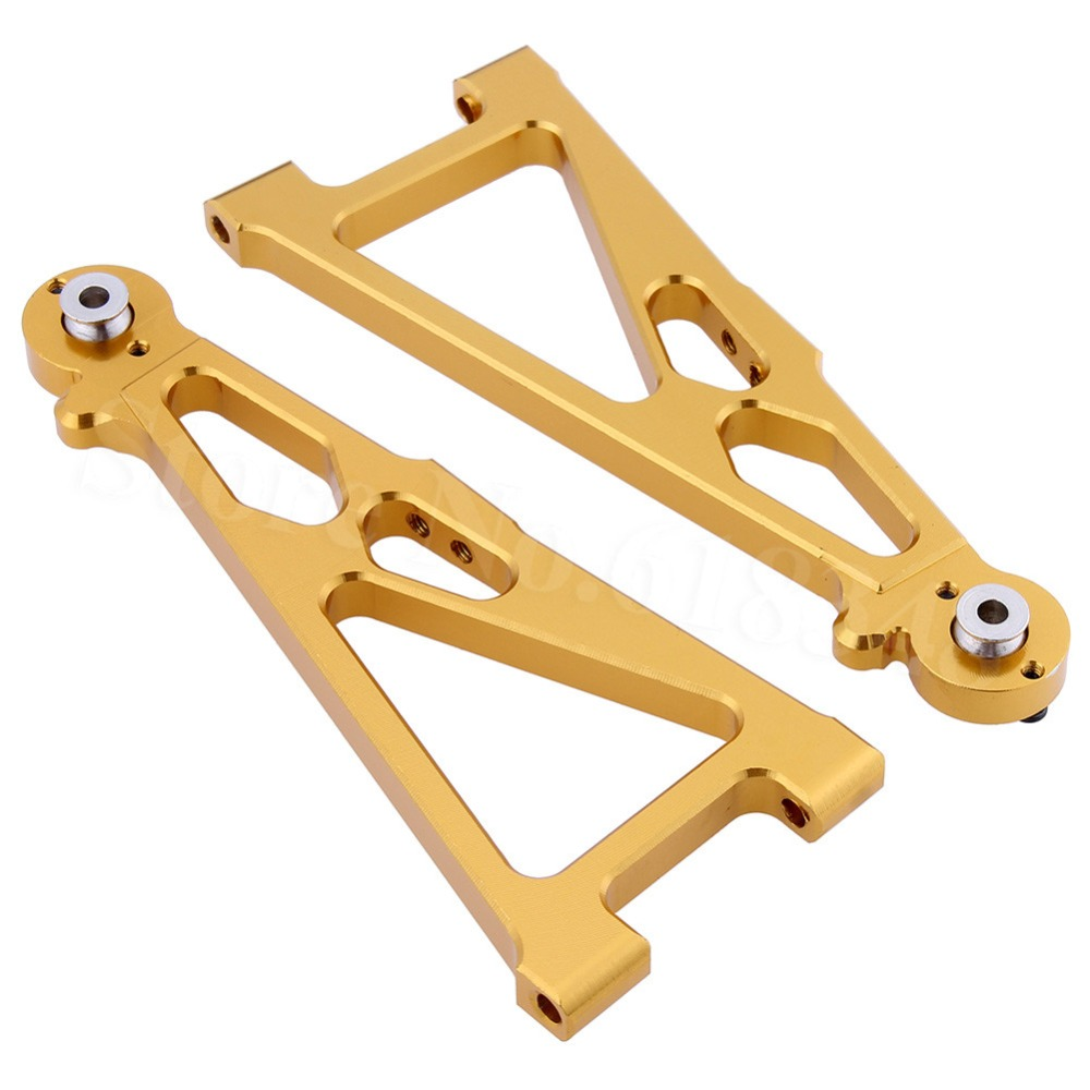цена Aluminum Front Lower Suspension Arm (L/R) For RC 1/10 E10 Electric Himoto E10XT E10XTL Katana Truggy Upgrade Parts 33602G 31603