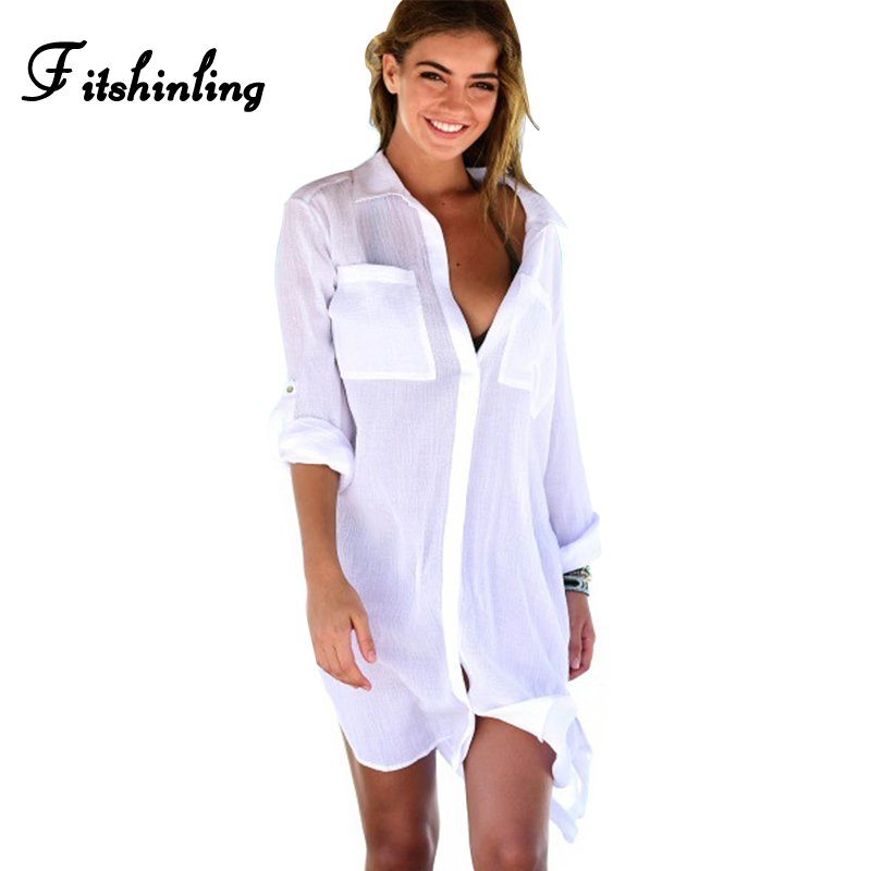 Fitshinling Pockets white blouse shirt 2018 summer beach cover up swimwear hollo