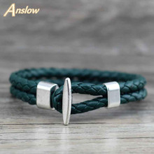 Anslow 2017 Vinatge estilo joyería brazalete envolvente con dije pulseras para mujer y hombre Unisex Retro nuevos artículos mejor amistad LOW0236LB