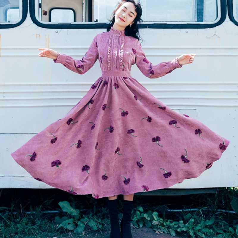 2019 Fashion Runway Maxi Dress Women   Long  Sleeve  Elegant   Flower Print Floral Embroidery Vintage Long Dress