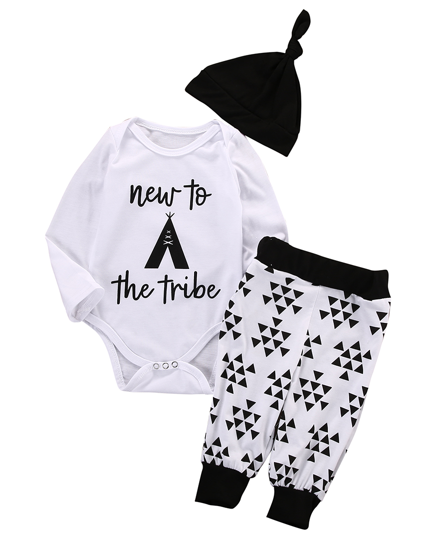 New Fashion Baby Girls Boys Long Sleeves Romper Tops+Triangle Printed Long Pants Legging+ Hat Outfits Set Clothes