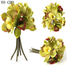 Kunstbloemen 7 flower heads/piece artificial orchid decoration silk flowers for home Free shipping 3 pcs/lots