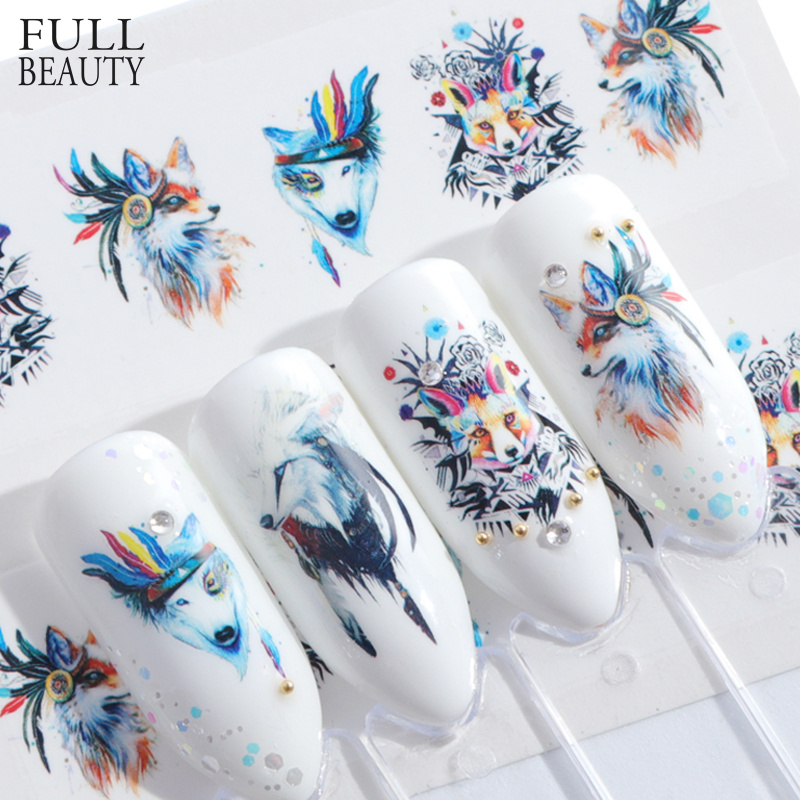 Full Beauty 1pcs Lovely Cartoon Colorful Image DIY Stencils Nail Decals Nail Art Sticker Manicure Water Slider Tips STZ660-673