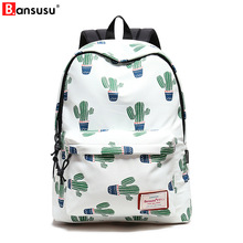 2018 Cactus Printing Backpack Casual Bag Fashion Backpack School Bags For Teenagers Durable Laptop Female Backpack Travel Bag fengdong female letters printing backpack usb school bags for girls fashion travel backpack girl schoolbag big bag for laptop