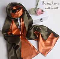 Burderry Turban Scarf 100% Pure Satin Silk Pashminas Patchwork Oliven Green Womens Scarfs Double layer Formal Partty Silk Cape