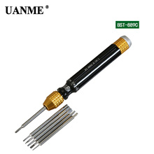 UANME 1Piece 6 in 1 Magnetic Screwdriver Repair Tools 1.2 1.5 Slotted 1.5Phillips Cross 0.8 5-Point 0.9 O