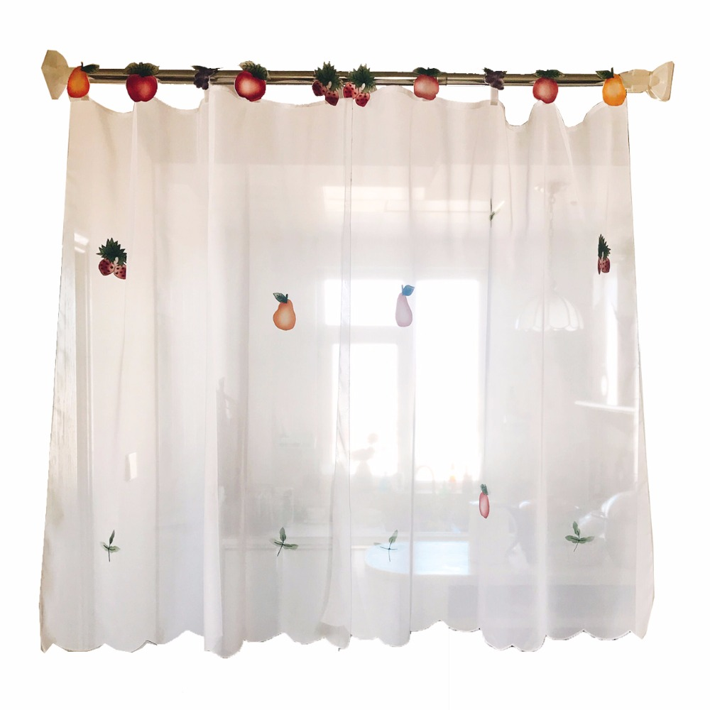 US $7.65 14% OFF|Home Decorative Style Window Treatments Short Kitchen  Curtains Short Tulle Curtains Cute Fruit Patchwork-in Curtains from Home &  ...
